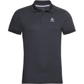 Odlo Nikko Dry Polo Shirt S/S Men, black/steel grey/stripes
